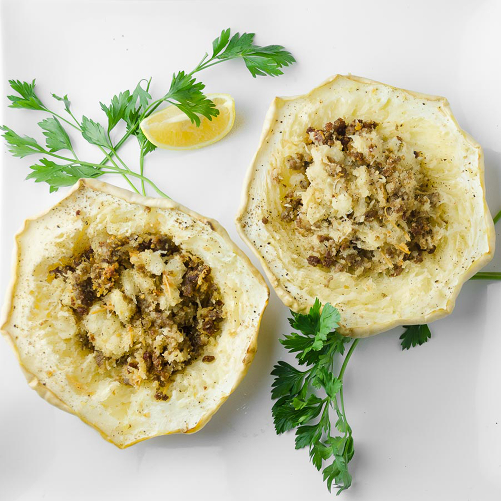 Sausage-Stuffed Pattypan Squash | Twisted Tastes